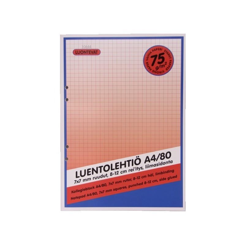 LUENTOLEHTIÖ A4 80 LEHTEÄ 75 GSM 7x7 MM RUUDUT
