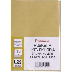 RUSKEITA KIRJEKUORIA C6 15 KPL TARRASULJENTA TRADITIONAL
