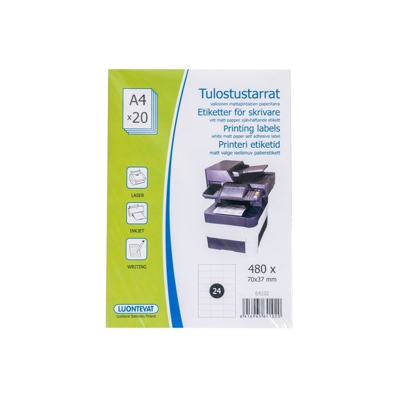 TULOSTUSTARRAT 70x37 MM A4 20 ARKKIA